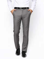 Park Avenue Men Grey Super Slim Fit Formal Trousers