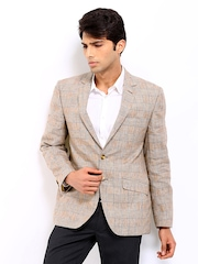 Park Avenue Men Brown Checked Linen Slim Fit Blazer