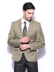 Park Avenue Men Khaki Super Wool Blend Slim Fit Blazer