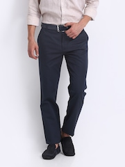 Park Avenue Men Navy Wrinkle Free Slim Fit Smart-Casual Trousers