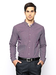Park Avenue Men Purple Checked Slim Fit  Formal Shirt