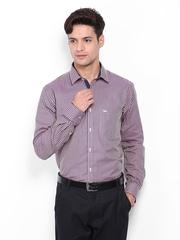 Park Avenue Men Purple & Beige Checked Slim Fit Formal Shirt
