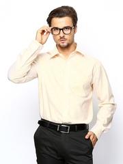 Park Avenue Men Off-White & Yellow Striped Formal Shirt