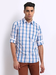 Parx Men White & Blue Checked Slim Fit Casual Shirt