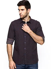 Parx Men Coffee Brown Slim Fit Casual Shirt