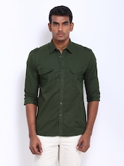 Parx Men Green Slim Fit Casual Shirt