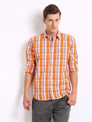 Parx Men Orange & Blue Checked Slim Fit Casual Shirt