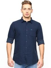 Parx Men Navy Printed Slim Fit Casual Shirt