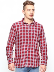 Parx Men Red Checked Slim Fit Casual Shirt