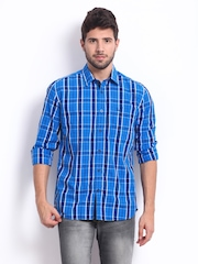 Parx Men Blue Checked Slim Fit Casual Shirt