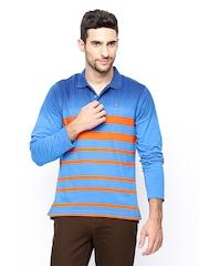 Parx Men Blue Striped Polo T-shirt