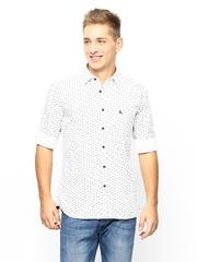 Parx Men White & Black Printed Slim Fit Casual Shirt