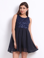 Peacot Navy Genelia Sequinned Fit & Flare Dress