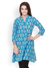 Pehraan Women Blue Printed Kurta