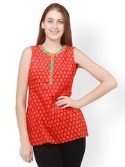 Pehraan Women Red Printed Kurti