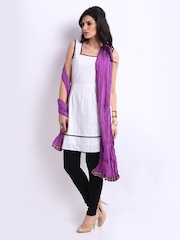 Pehraan Women Purple Crinkled Dupatta