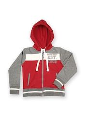 Little Rock Star Boys Red & Grey Hooded Sweatshirt People