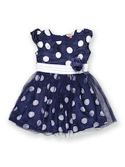 People Once Upon a Time Girls Navy & White Polka Dot Printed Fit & Flare Dress
