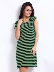People Green Striped Jersey Dress