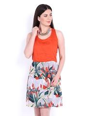 People Off-White Orange & Grey Fit & Flare Dress