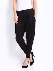 People Women Black Twill Harem Pants