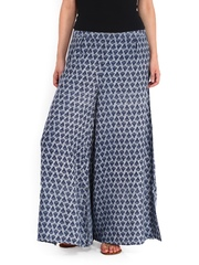 People Women Blue Printed Palazzo Trousers