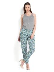 People Women Grey Melange & Teal Blue Printed Jumpsuit