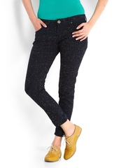 People Women Navy Printed Slim Fit Jeans