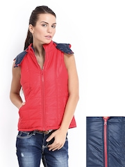 People Women Red & Navy Reversible Padded Jacket