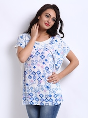 People Women White & Blue Printed Top