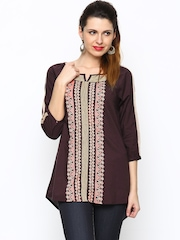 People Women Wine-Coloured Printed Tunic