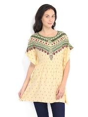 People Women Yellow & Green Printed Kaftan Tunic