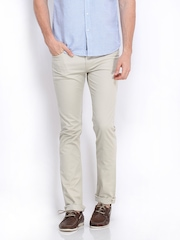 Pepe Jeans Men Beige Vapour Skinny Fit Trousers