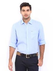 Pepe Jeans Men Blue Linen Semi Fit Casual Shirt