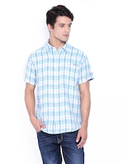 Pepe Jeans Men Blue & White Checked Linen Semi Fit Casual Shirt