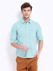 Pepe Jeans Men Blue Striped Semi Fit Casual Shirt
