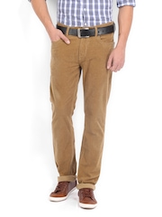 Pepe Jeans Men Khaki Holborne Regular Fit Corduroy Trousers