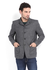 Pepe Jeans Men Charcoal Grey Wool Blend Jacket