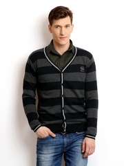 Pepe Jeans Men Grey & Black Striped Cardigan