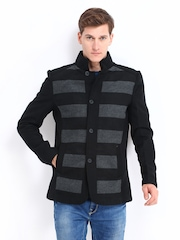 Pepe Jeans Men Black & Grey Wool Blend Striped Jacket