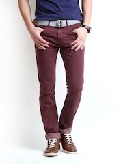Pepe Jeans Men Burgundy Vapour Skinny Fit Jeans