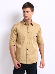 Pepe Jeans Men Khaki Semi-Fit Vitali Casual Shirt