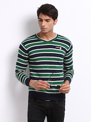 Pepe Jeans Men Navy & Green Striped Sweater