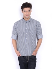 Pepe Jeans Men Navy & White Striped Semi Fit Casual Shirt