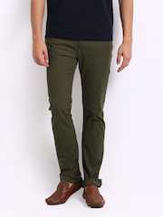 Pepe Jeans Men Olive Green Vapour Skinny Fit Trousers