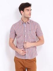 Pepe Jeans Men Orange & White Checked Semi Fit Casual Shirt