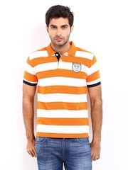 Pepe Jeans Men Orange & White Striped Polo T-shirt