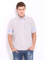 Pepe Jeans Men Peach Coloured & White Striped Semi Fit Casual Shirt