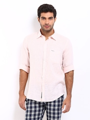Pepe Jeans Men Pink Semi Fit Linen Casual Shirt