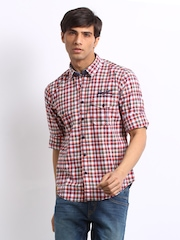 Pepe Jeans Men Red & Blue Checked Semi Fit Casual Shirt
